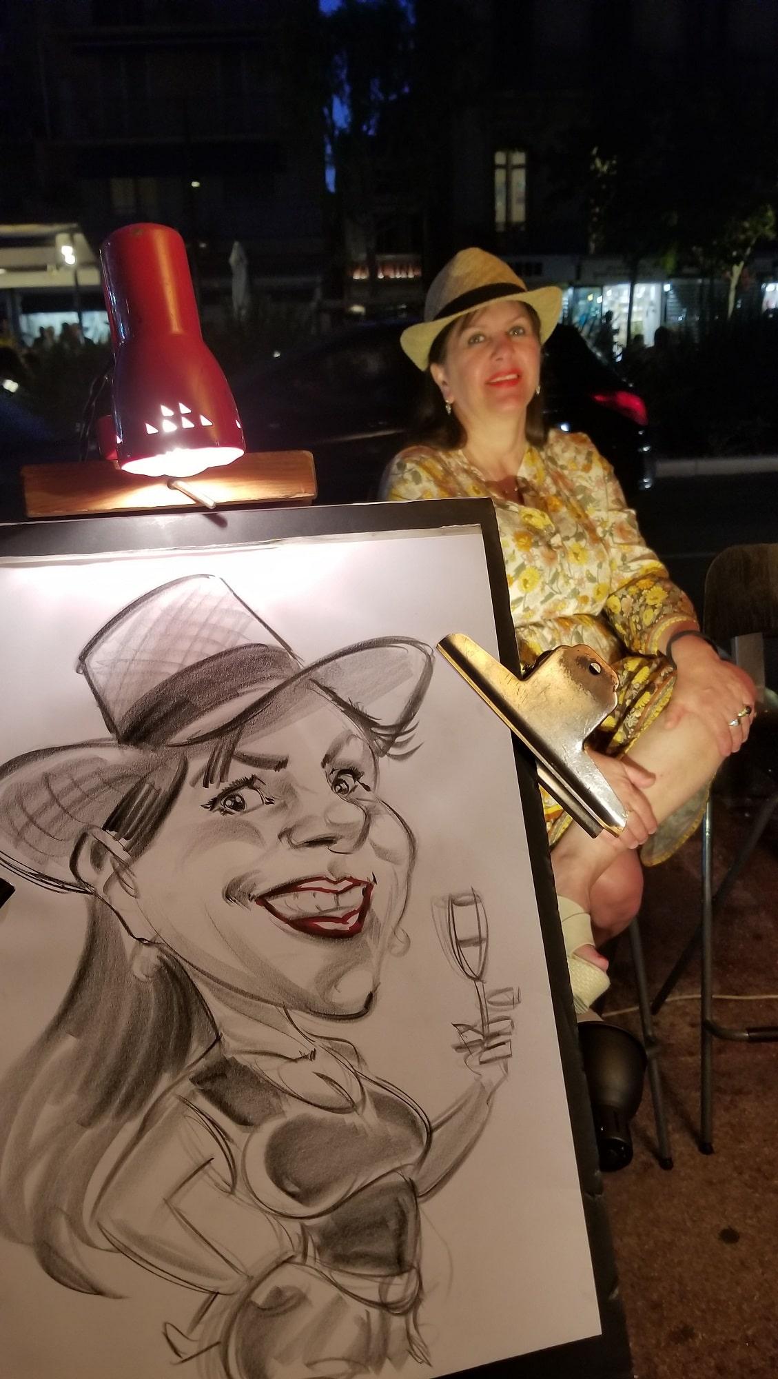 Caricature à un marché nocturne de Bandol