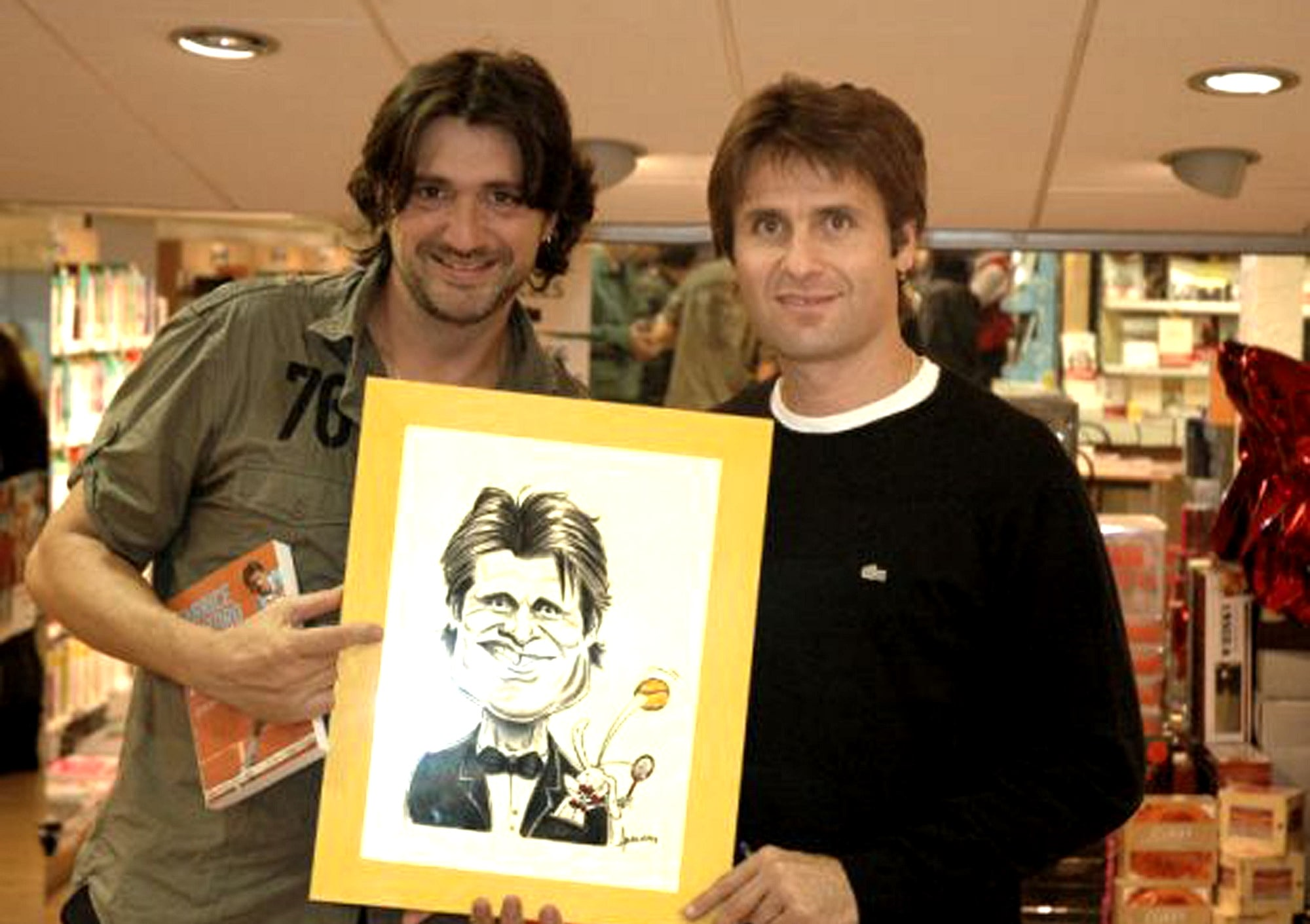 Caricature avec Fabrice Santoro lors de la dédicace de son livre