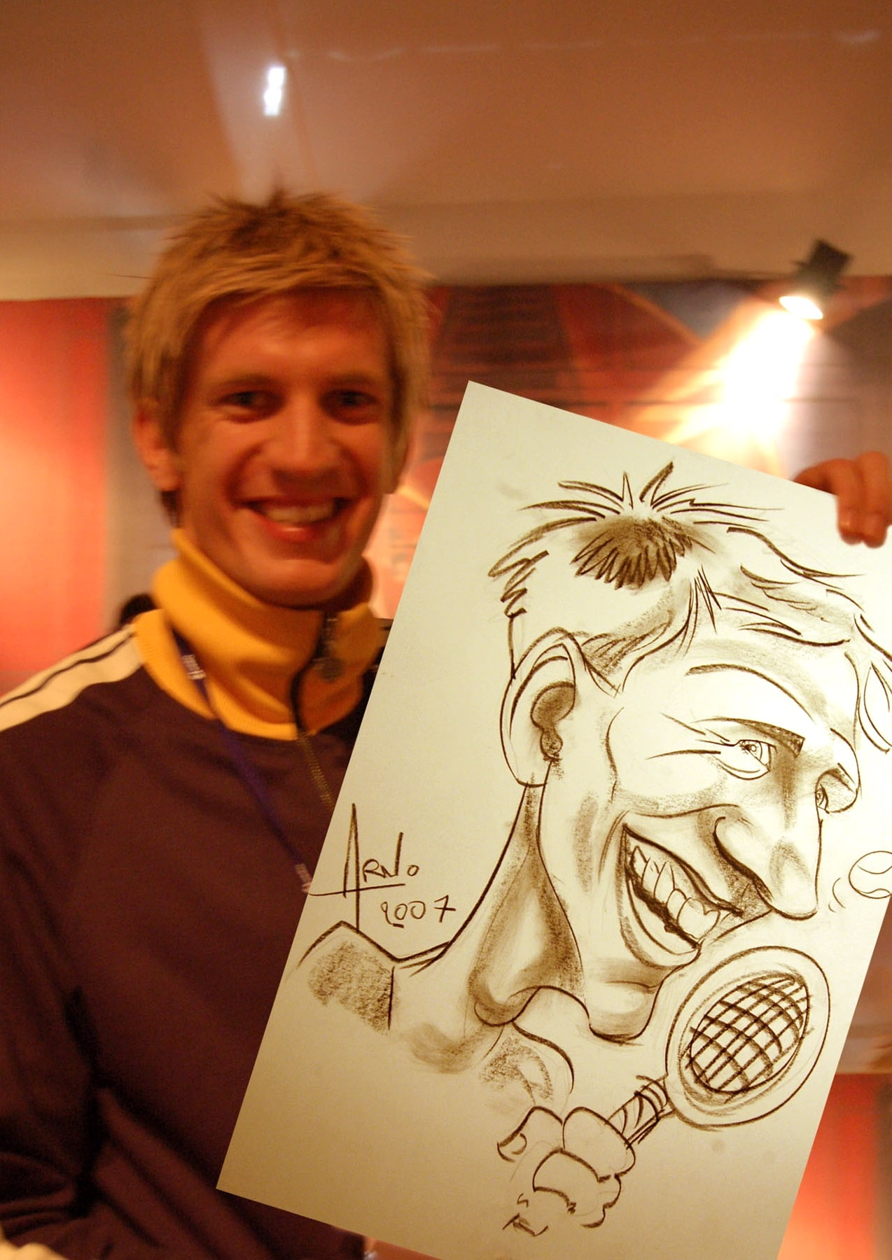 Caricature avec Jarrko Nieminen à l'Open 13 de Marseille