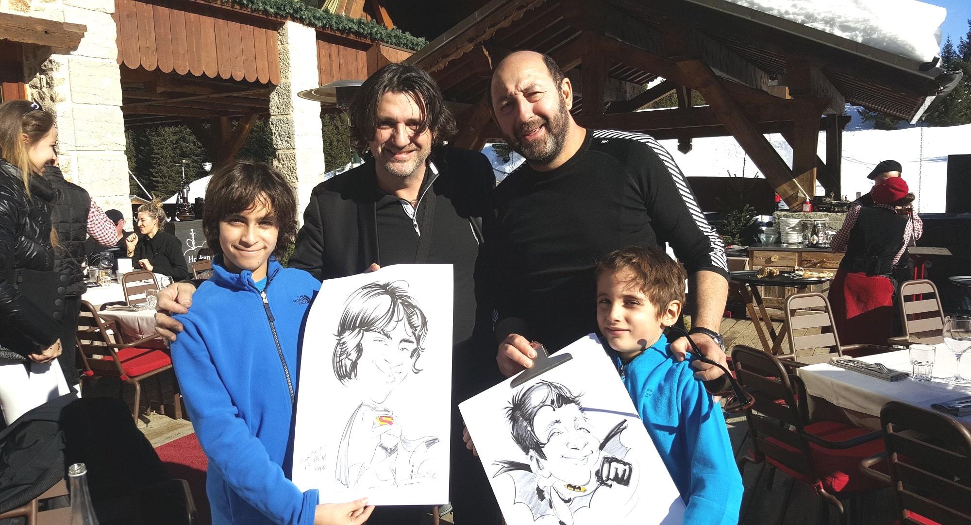 Caricature avec Kad Merad au Chalet de Pierres à Courchevel