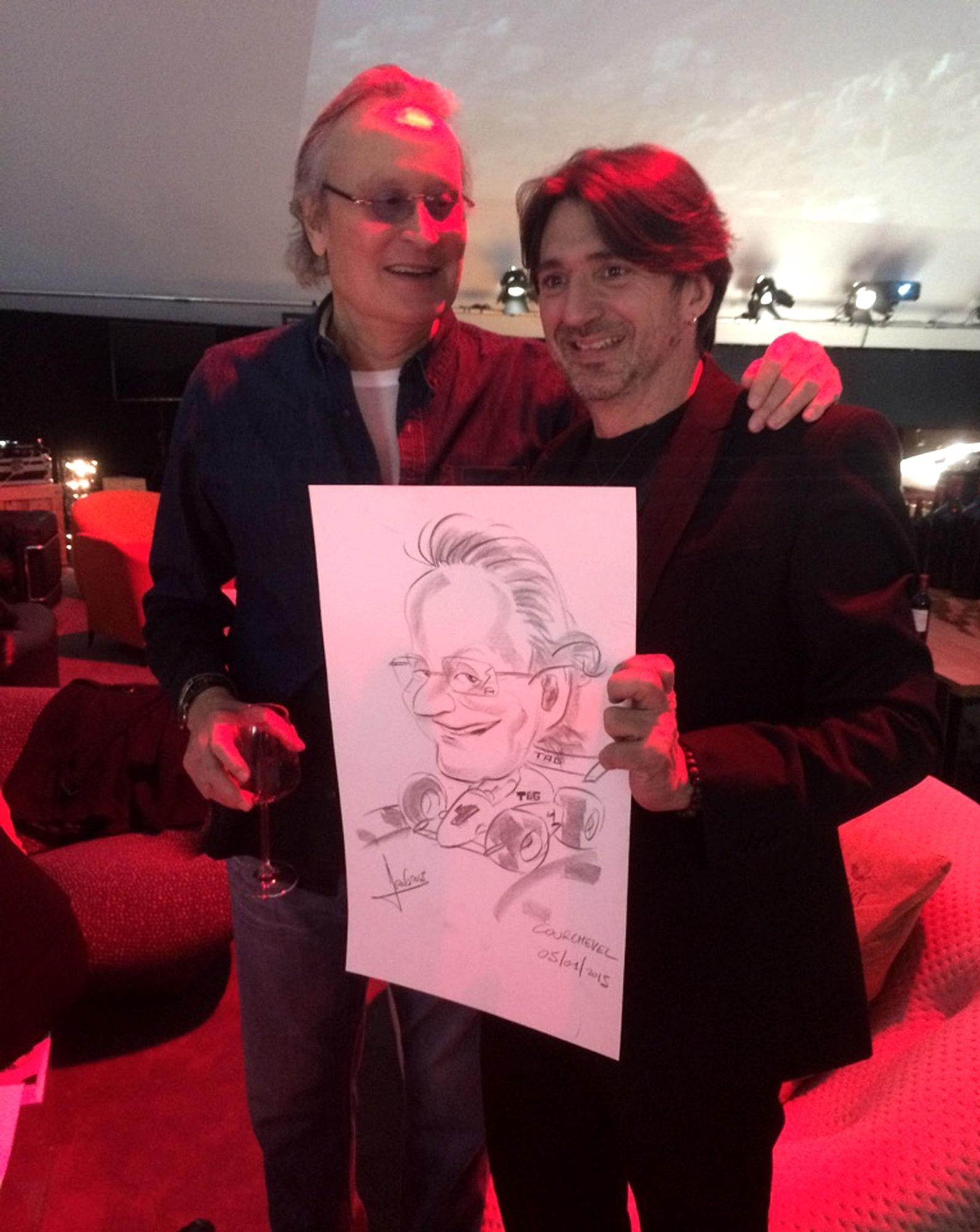 Caricature avec Mansour Ojjeh Mc Laren F1 à Courchevel