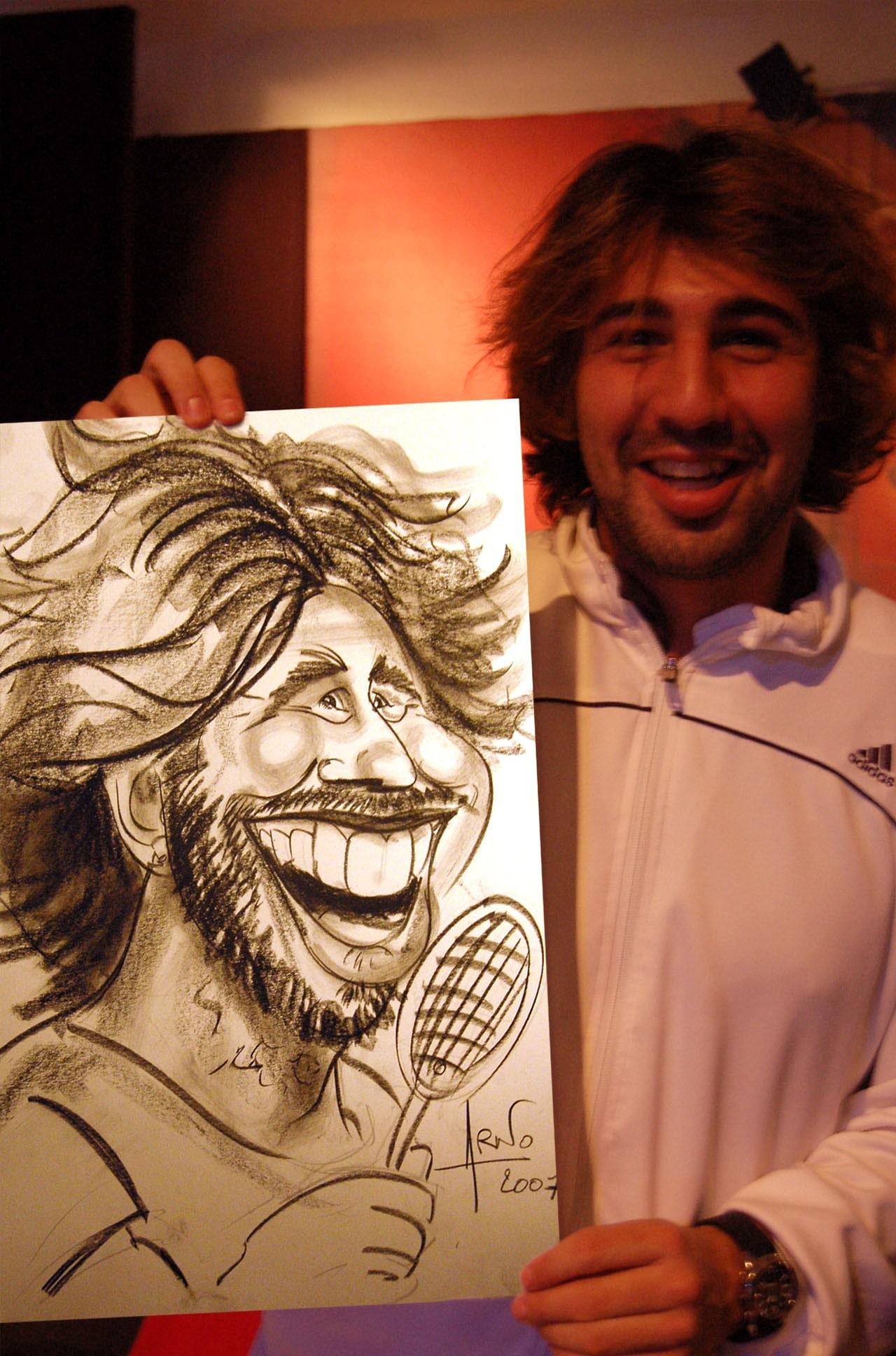 Caricature avec Marcos Bhagdatis à l'Open 13 de Marseille