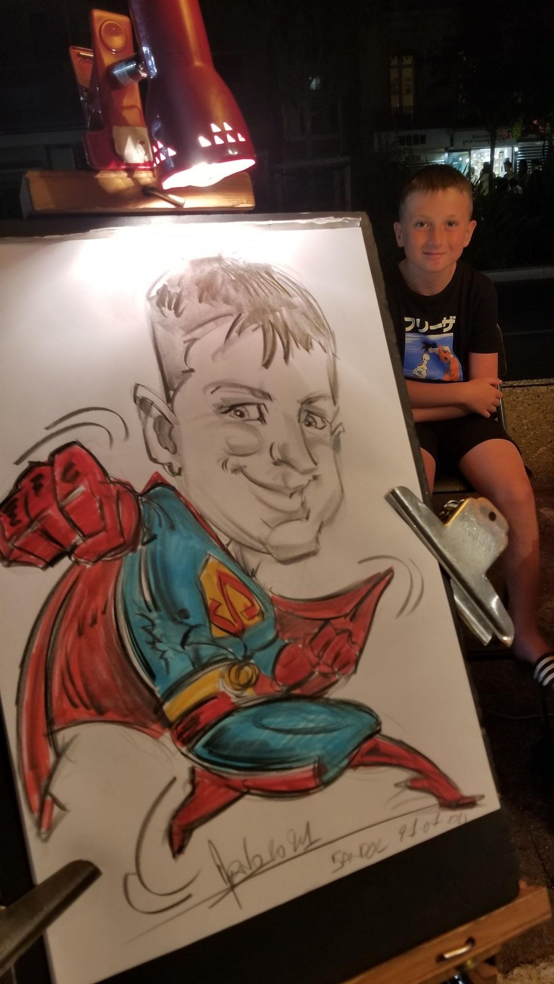 Caricature du véritable SuperMan à Bandol en 2021