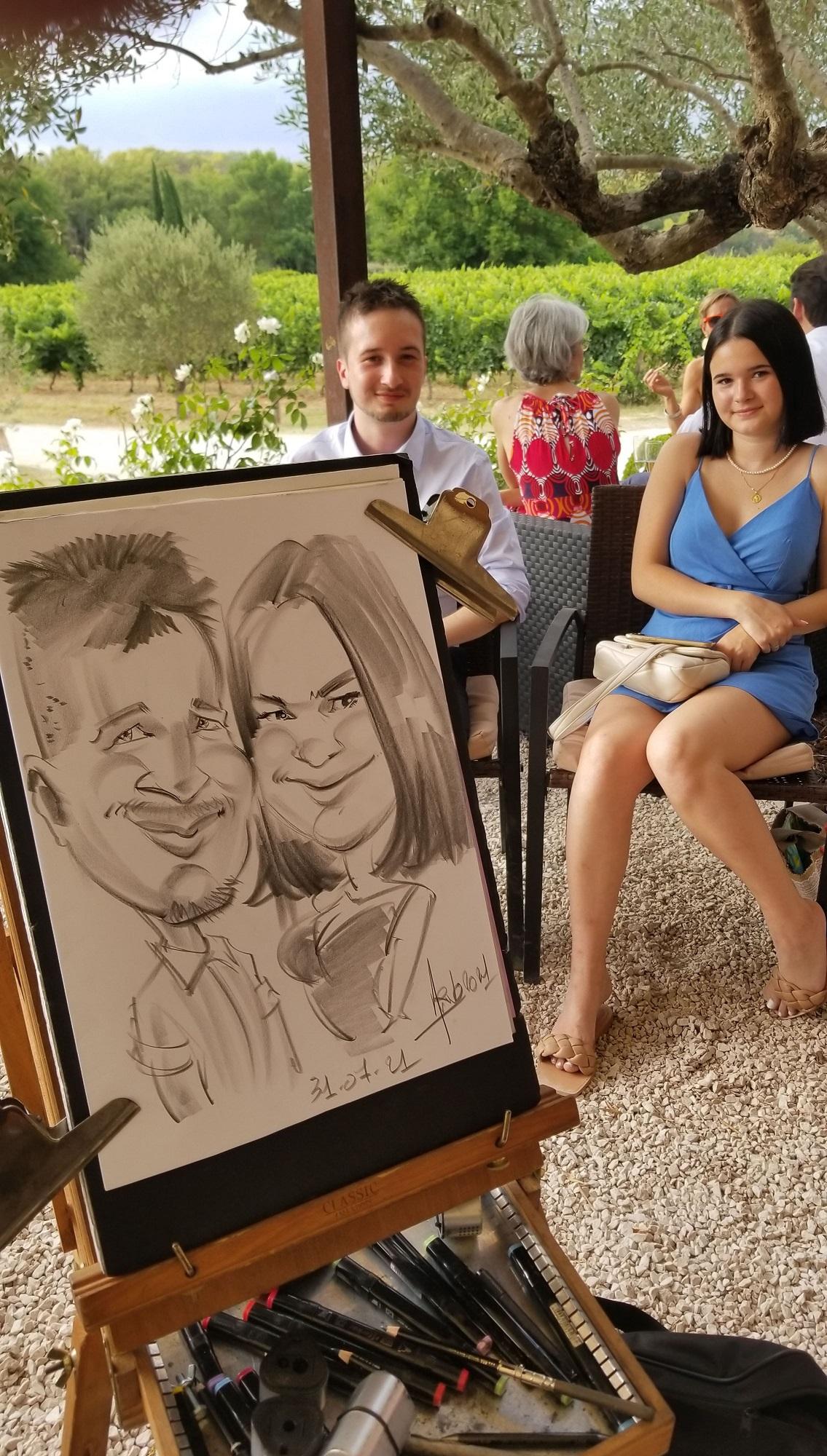 Caricatures lors d'un cocktail de mariage à la Bastide de Fangouse à Entrecasteaux