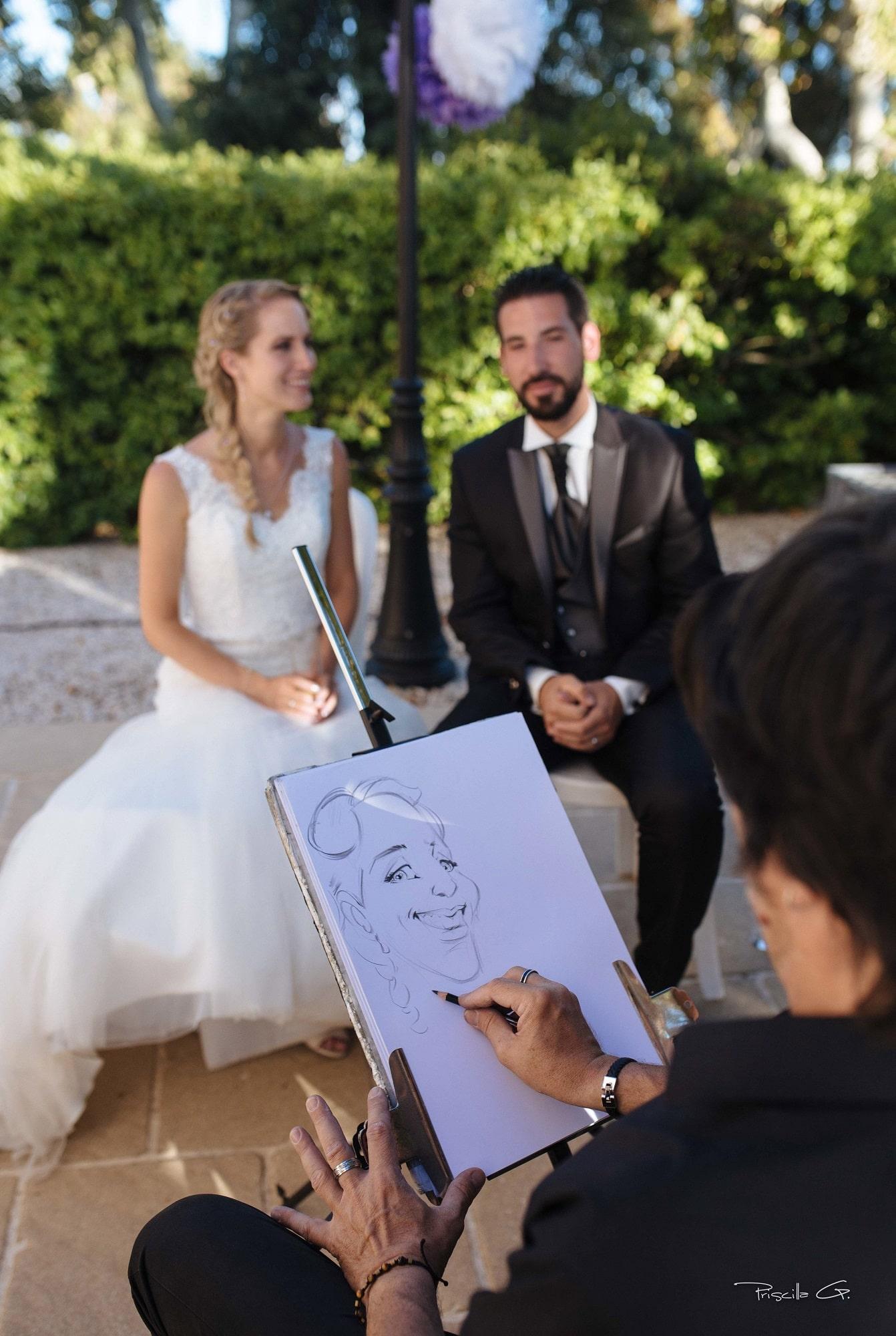 Le croquis des mariés en cours de réalisation