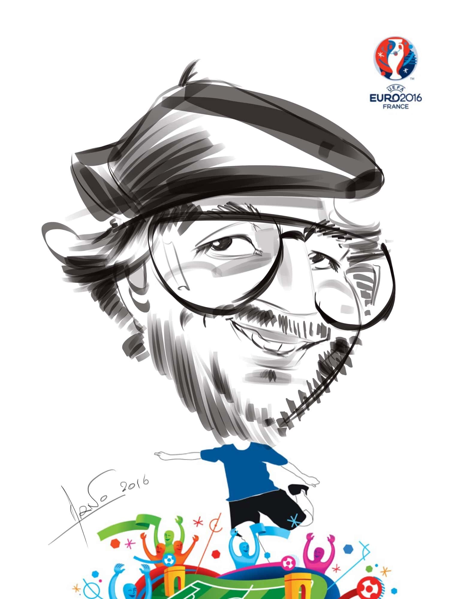 Caricature 2016 iPad euro Marseille