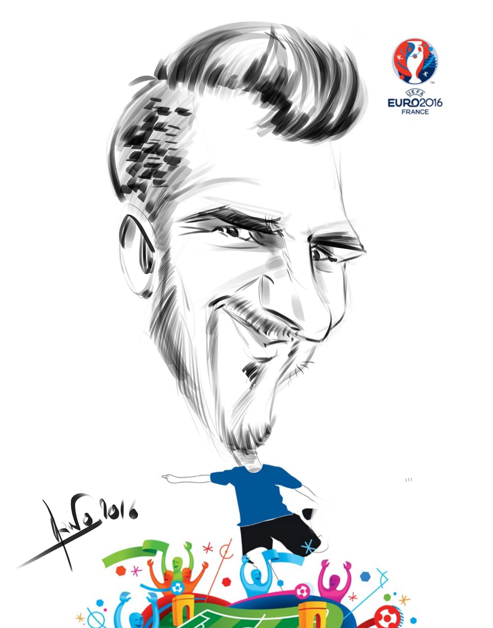 Caricature 2016 sur iPad euro Marseille