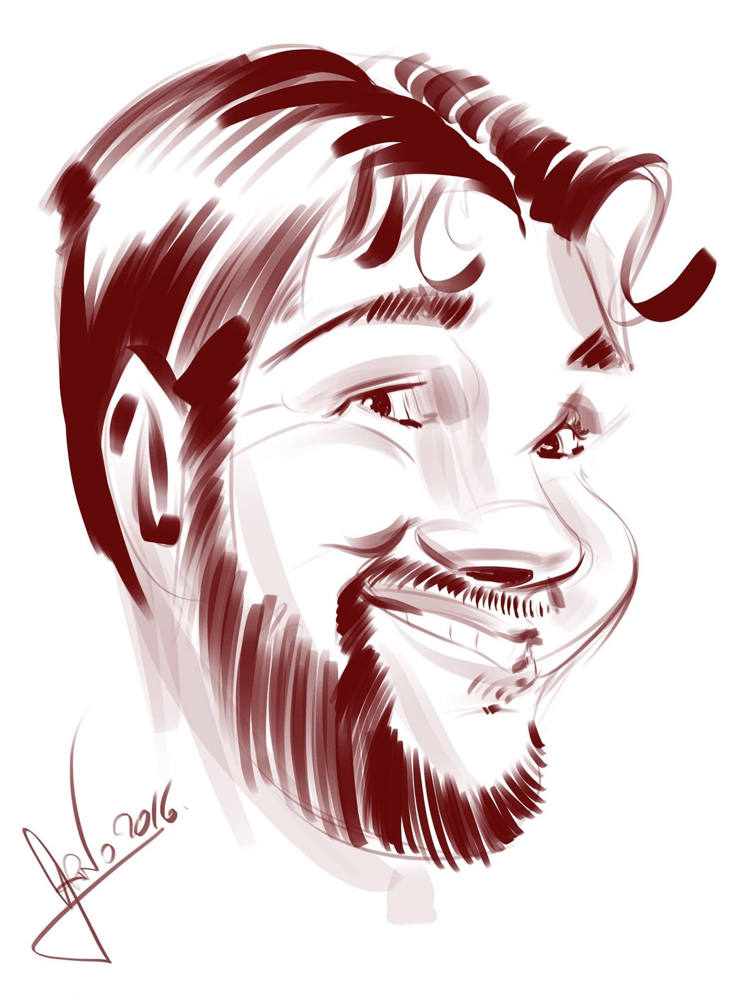 Caricature iPad soirée de gala