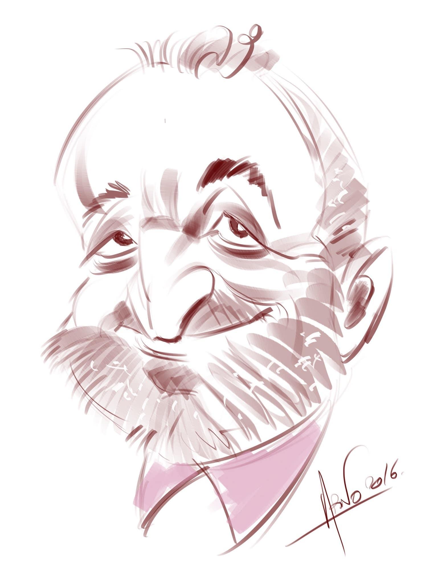 Caricature soirée gala iPad