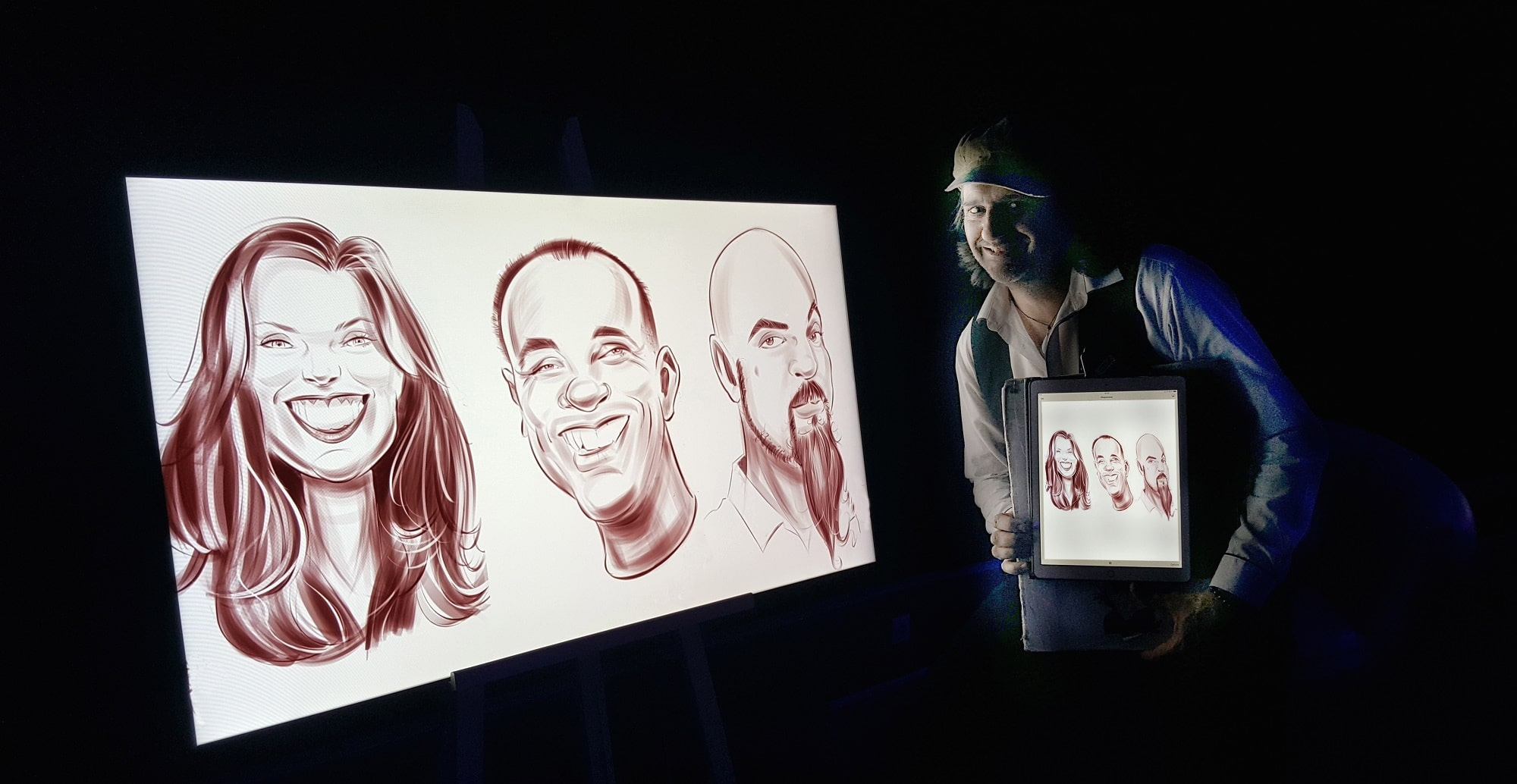 Présentation caricatures numériques sur iPad